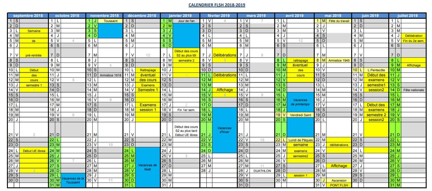 calendrier universitaire orléans 2018 2019
