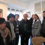 Les étudiants EM CLE avec les poètes Yves Bonnefoy et Tony Harrison, à Strasbourg, Prix européen de la littérature, 12 mars 2011.