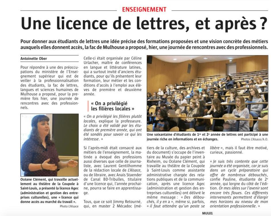 Article paru dans l'Alsace le 27 janvier 2017.