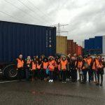 Nov. 2015, étudiants LEA 3 en visite au port d'Ottmarsheim, accompagnés par M. Kempf et Mme Gévaudan