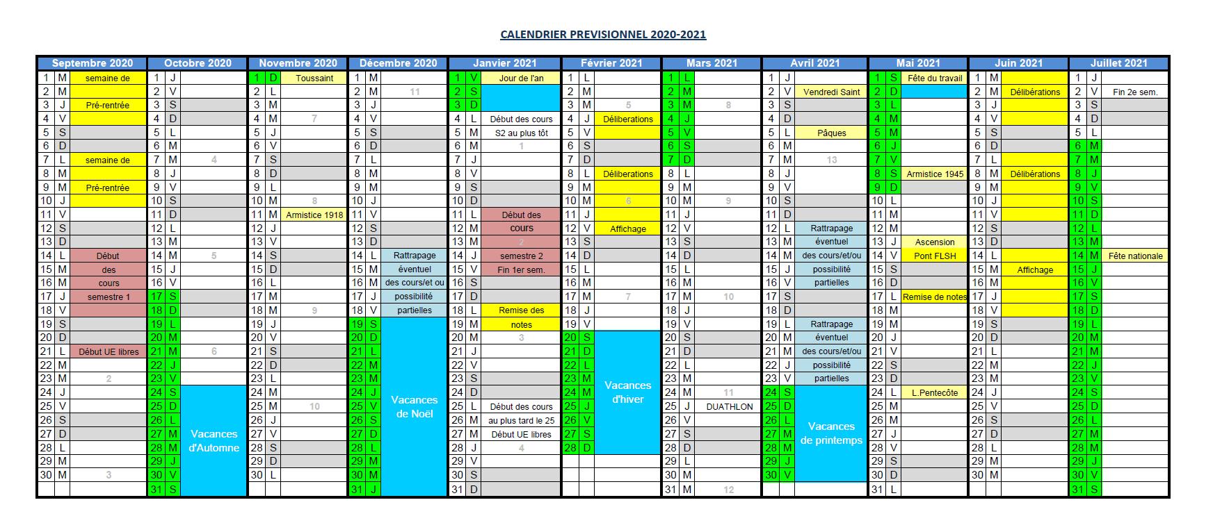Calendrier Ubo 2021 Calendrier universitaire 2020 21 – Faculté des Lettres, Langues et